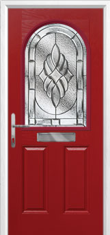 2 Panel 1 Arch Elegance Composite Front Door in Red