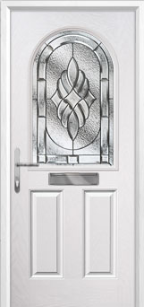 2 Panel 1 Arch Elegance Composite Front Door in White