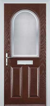 2 Panel 1 Arch Enfield Timber Solid Core Door in Darkwood