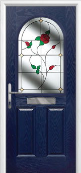 2 Panel 1 Arch English Rose Composite Front Door in Blue