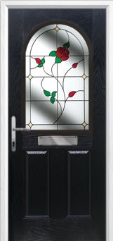 2 Panel 1 Arch English Rose Composite Front Door in Black