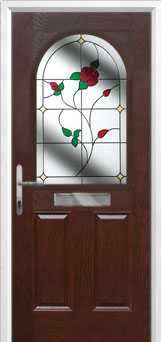 2 Panel 1 Arch English Rose Composite Front Door in Darkwood