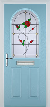 2 Panel 1 Arch English Rose Timber Solid Core Door in Duck Egg Blue