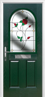 2 Panel 1 Arch English Rose Composite Front Door in Green