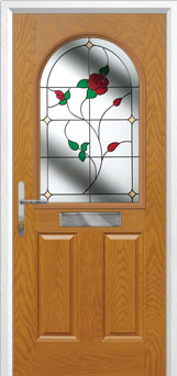 2 Panel 1 Arch English Rose Composite Front Door in Oak