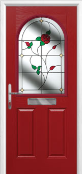 2 Panel 1 Arch English Rose Composite Front Door in Red