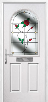 2 Panel 1 Arch English Rose Composite Front Door in White