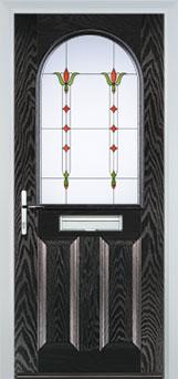 2 Panel 1 Arch Fleur Timber Solid Core Door in Black Brown