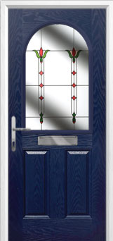 2 Panel 1 Arch Fleur Composite Front Door in Blue