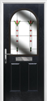 2 Panel 1 Arch Fleur Composite Front Door in Black