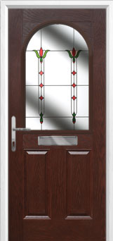 2 Panel 1 Arch Fleur Composite Front Door in Darkwood