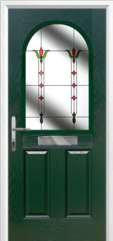 2 Panel 1 Arch Fleur Composite Front Door in Green