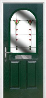 2 Panel 1 Arch Fleur Timber Solid Core Door in Green