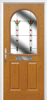 2 Panel 1 Arch Fleur Composite Front Door in Oak