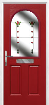 2 Panel 1 Arch Fleur Composite Front Door in Red