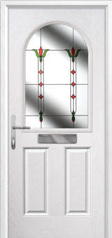 2 Panel 1 Arch Fleur Composite Front Door in White