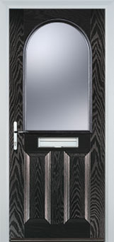 2 Panel 1 Arch Glazed Timber Solid Core Door in Black Brown