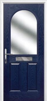 2 Panel 1 Arch Glazed Composite Front Door in Blue