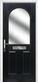 2 Panel 1 Arch Glazed Composite Front Door in Black
