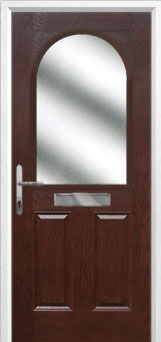 2 Panel 1 Arch Glazed Composite Front Door in Darkwood