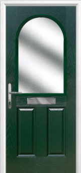 2 Panel 1 Arch Glazed Composite Front Door in Green