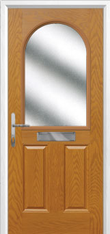 2 Panel 1 Arch Glazed Composite Front Door in Oak