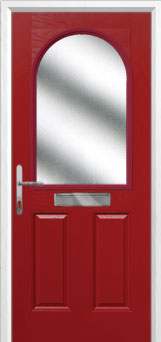 2 Panel 1 Arch Glazed Composite Front Door in Red