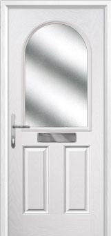 2 Panel 1 Arch Glazed Composite Front Door in White
