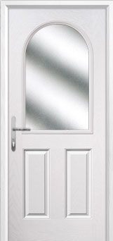 2 Panel 1 Arch Glazed Composite Back Door in White