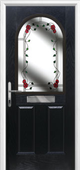 2 Panel 1 Arch Mackintosh Rose Composite Front Door in Black