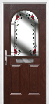 2 Panel 1 Arch Mackintosh Rose Composite Front Door in Darkwood