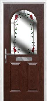2 Panel 1 Arch Mackintosh Rose Composite Front Door in Darkwood