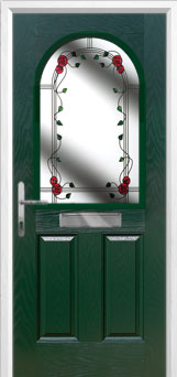 2 Panel 1 Arch Mackintosh Rose Timber Solid Core Door in Green