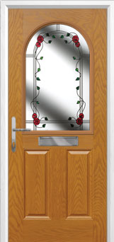 2 Panel 1 Arch Mackintosh Rose Composite Front Door in Oak