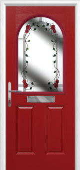 2 Panel 1 Arch Mackintosh Rose Composite Front Door in Red