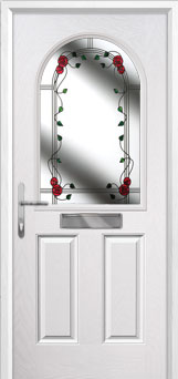 2 Panel 1 Arch Mackintosh Rose Composite Front Door in White