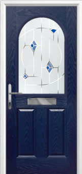 2 Panel 1 Arch Murano Composite Front Door in Blue