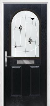 2 Panel 1 Arch Murano Composite Front Door in Black