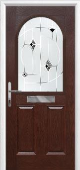 2 Panel 1 Arch Murano Composite Front Door in Darkwood