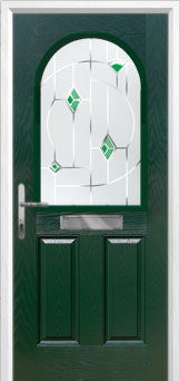 2 Panel 1 Arch Murano Composite Front Door in Green