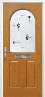 2 Panel 1 Arch Murano Composite Front Door in Oak