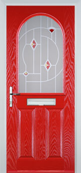 2 Panel 1 Arch Murano Timber Solid Core Door in Poppy Red