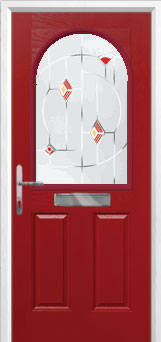2 Panel 1 Arch Murano Composite Front Door in Red