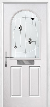 2 Panel 1 Arch Murano Composite Front Door in White