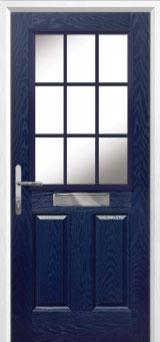 2 Panel 1 Grill Composite Front Door in Blue