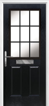 2 Panel 1 Grill Composite Front Door in Black