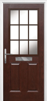 2 Panel 1 Grill Composite Front Door in Darkwood