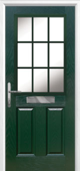 2 Panel 1 Grill Composite Front Door in Green