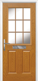 2 Panel 1 Grill Composite Front Door in Oak