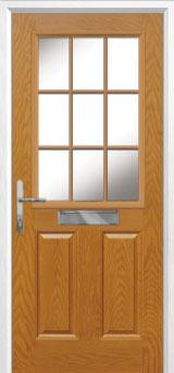 2 Panel 1 Grill Composite Front Door in Oak